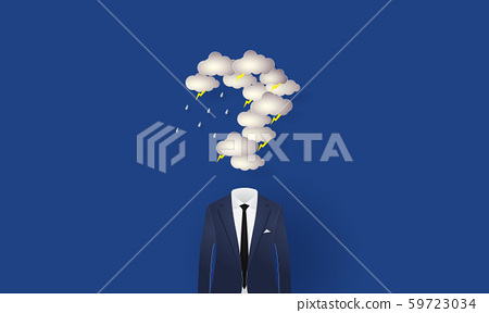 Businessman under the question mark shaped rain cloud and lighting, Concept inspiration business, Paper cut 59723034