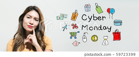Cyber Monday with young woman 59723399