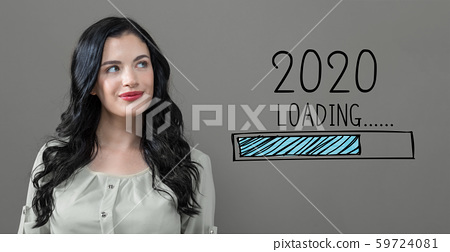 Loading new year 2020 with young woman 59724081