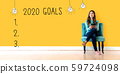 2020 goals with young woman 59724098