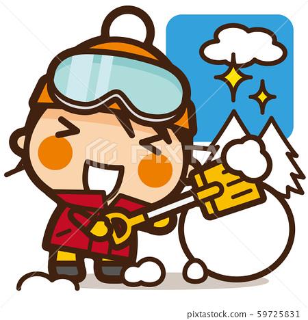 학교 Kids 눈사람 만드는 여자 눈 놀이 59725831