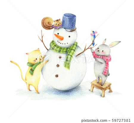 動物堆雪人 59727381