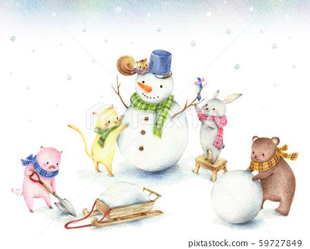 動物堆雪人 59727849