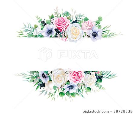 장미 그림, 간판, 라벨, 초대장. Pink and white rose label. 59729539