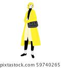 노란 코트를 입고 약속을하고있는 젊은 여성 59740265