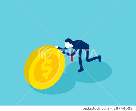 Isometric businessman push coin. Concept business 59744008