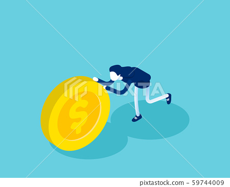 Isometric businesswoman push coin. Concept 59744009