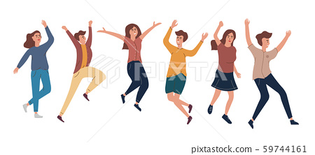 Collection of joyful jumping men and women dressed in casual clothes. The concept of friendship, healthy, happiness, lifestyle, young, party, success. Vector illustration in a flat style. 59744161