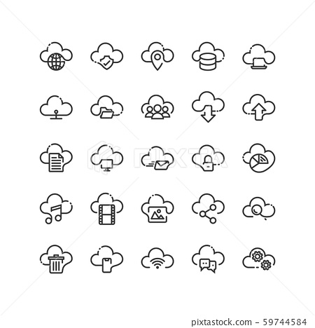 Cloud Computing outline icon set. Vector and 59744584