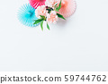 Festive flat lay composition of bouquet of flowers 59744762