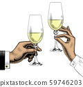 Hands holding glasses of champagne. 59746203