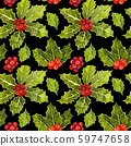 Watercolor hand dranw colorful floral seamless pattern with holly leaves and holly berry - natural winter seamless pattern on black - christmas background. 59747658