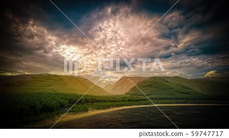 Panorama of the coast of Tahiti 3d rendering 59747717