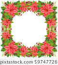 Christmas frame decoration Christmas star and winter plants: holly leaves, dried twig with red berries and fir branch isolated on white background. Watercolor Christmas wreath of poinsettia flowers. 59747726