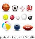 Different sport balls, vector 3d realistic set 59748504