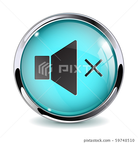 Web button Volume OFF. Blue glass 3d icon with metal frame 59748510