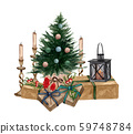 Christmas and New Year illustration. Watercolor christmas gifts and presents in craft wrapping paper, Christmas tree and candles.  Hand painted set with pile of gift boxes and evergreen tree . 59748784