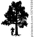 Young woman on a swing under oak tree 59749384