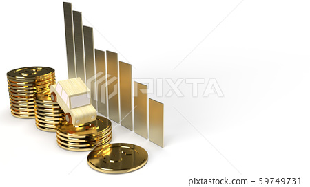 The car wood on gold coin 3d rendering for trade down market content. 59749731