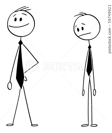 Vector Cartoon Illustration of Ordinary Man or Businessman Watching Confident Man with Very Long Tie 59749921