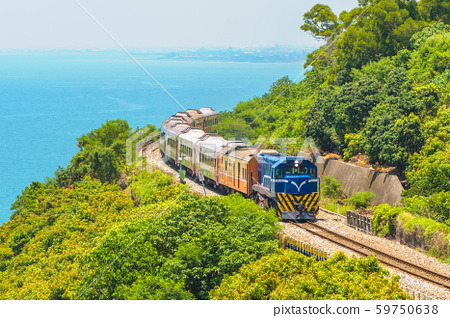scenery of southern taiwan with railway and train 59750638