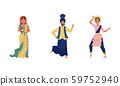 Indian Dancers in Traditional Costumes Vector Illustrations 59752940