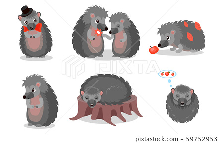 Hedgehog Character Vector Set. Prickly Forest Animal Sleeping and Wearing a Bowtie 59752953