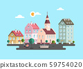 Urban Landscape. Vector Flat Design City with 59754020
