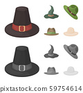 Vector illustration of hat and cap icon. Collection of hat and model vector icon for stock. 59754614