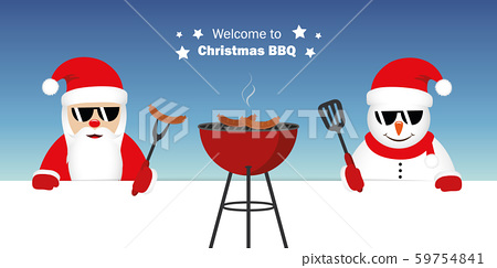 cute santa claus and snowman with sunglasses at christmas bbq 59754841