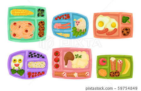 Lunch Box with Different Food Inside Vector Set 59754849