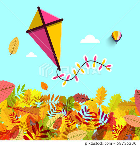 Autumn Leaves with Kite on Blue Sky. Vector Fall 59755230