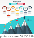 Vector Infographic Layout with Flags on Mountains 59755236
