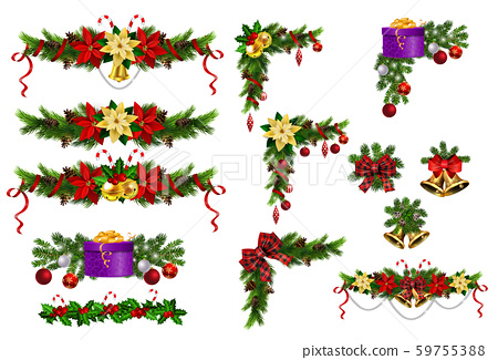Christmas decorations with fir tree golden jingle bells 59755388
