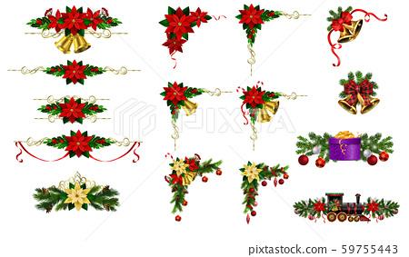 Christmas decorations with fir tree golden jingle bells 59755443