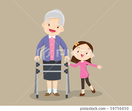 granddaughter helps her grandmother to go to the 59756850
