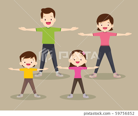 Happy Family exercising Together in public park 59756852
