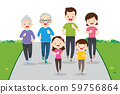 big family jogging and exercising together 59756864