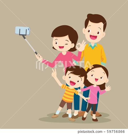 Happy Family Making Selfie 59756866