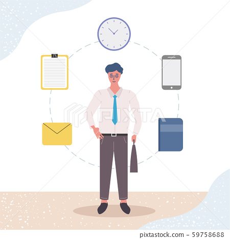 Businessman is standing and holding briefcase. Time management, multi-tasking, planning and strategy. Modern vector illustration concepts. Flat style. Clock. File. Mobile phone.. Notebook. E-mail. 59758688