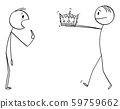 Vector Cartoon Illustration of Man Giving Crown of King to Unbelieving Man 59759662