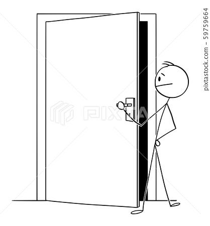 Vector Cartoon Illustration of Man or Businessman Looking through Slightly Open Door 59759664
