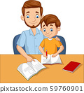 Father helping his son do homework 59760901