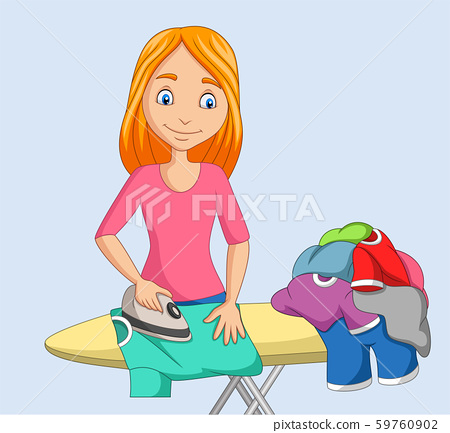 Young woman ironing clothes 59760902
