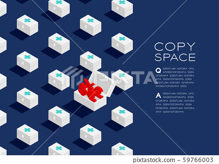 First aid kit box with Currency sign dollar, pound, euro, and yen or yuan 3D isometric pattern, Life or money concept poster and banner horizontal illustration on blue background with space, vector 59766003