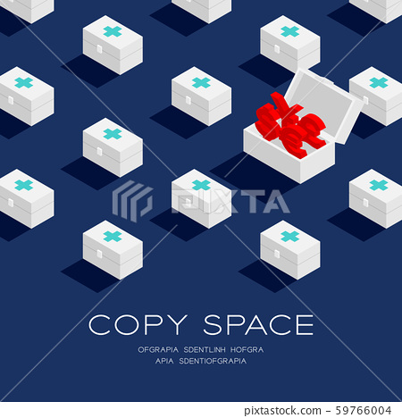 First aid kit box with Currency sign dollar, pound, euro, and yen or yuan 3D isometric pattern, Life or money concept poster and banner square illustration on blue background with space, vector 59766004