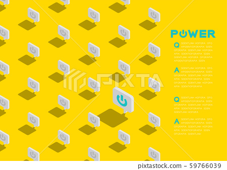 Power sign in speech bubble message 3d isometric pattern, Technology startup concept poster and social banner post horizontal design illustration isolated on yellow background, vector eps 10 59766039