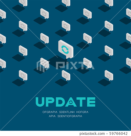 Sync sign in speech bubble message 3d isometric pattern, Data update technology concept poster and social banner post square design illustration isolated on blue background with space, vector eps 10 59766042