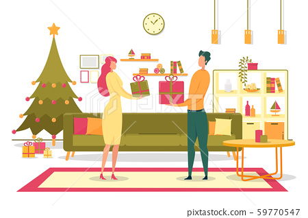 Family Giving Christmas Gifts Flat Vector Concept Stock Illustration 59770547 Pixta