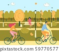Man and Woman Couple Ride Bicycles in Public Park 59770577